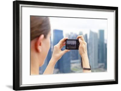 European Tourist Taking a Picture of Singapore Skyline-Harry Marx-Framed Photographic Print