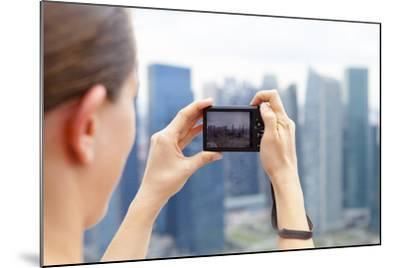 European Tourist Taking a Picture of Singapore Skyline-Harry Marx-Mounted Photographic Print