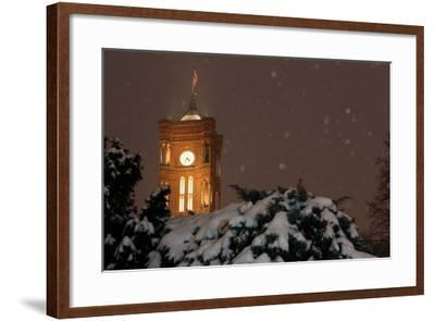 Germany, Berlin, Red City Hall, Night, Snow-Catharina Lux-Framed Photographic Print