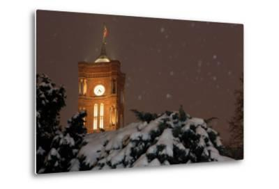Germany, Berlin, Red City Hall, Night, Snow-Catharina Lux-Metal Print
