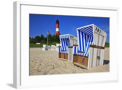 Sylt, Beach Chairs with Lighthouse on the East Beach of Hšrnum-Uwe Steffens-Framed Photographic Print