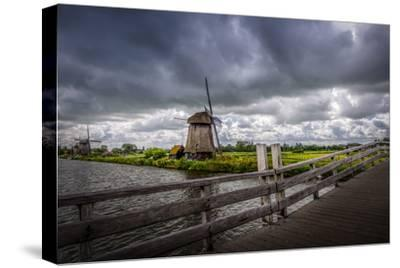 The Netherlands, Channel, Canal, Mill, Windmill-Ingo Boelter-Stretched Canvas Print