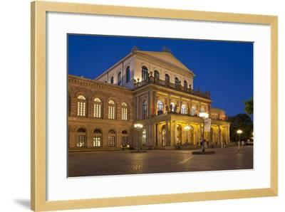 Germany, Lower Saxony, Hannover, Landestheater, Evening-Chris Seba-Framed Photographic Print