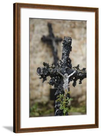 France, Basse-Normandy, Manche, Cemetery of the Abbey Mont-Saint-Michel, Crucifix-Andreas Keil-Framed Photographic Print
