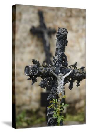 France, Basse-Normandy, Manche, Cemetery of the Abbey Mont-Saint-Michel, Crucifix-Andreas Keil-Stretched Canvas Print