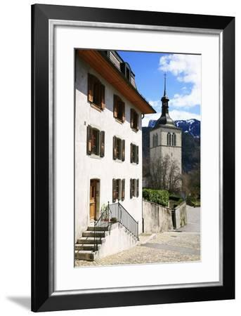 Switzerland, Fribourg, Gruy?res in the Swiss Canton Fribourg, View of Town with Church-Uwe Steffens-Framed Photographic Print