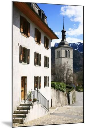 Switzerland, Fribourg, Gruy?res in the Swiss Canton Fribourg, View of Town with Church-Uwe Steffens-Mounted Photographic Print