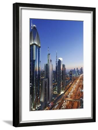 Downtown Dubai, Panorama, Skyline, Evening Mood at the Persian Gulf, Traffic-Axel Schmies-Framed Photographic Print