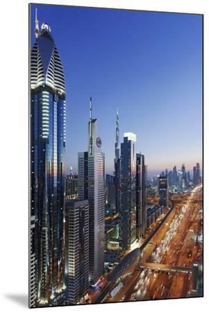 Downtown Dubai, Panorama, Skyline, Evening Mood at the Persian Gulf, Traffic-Axel Schmies-Mounted Photographic Print
