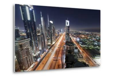 Centre of Dubai City, Panorama, Skyline, Evening Mood at Persian Gulf, Traffic-Axel Schmies-Metal Print