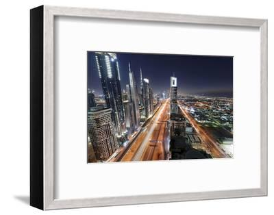 Centre of Dubai City, Panorama, Skyline, Evening Mood at Persian Gulf, Traffic-Axel Schmies-Framed Photographic Print