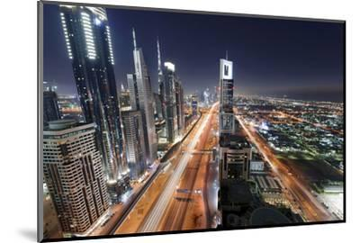 Centre of Dubai City, Panorama, Skyline, Evening Mood at Persian Gulf, Traffic-Axel Schmies-Mounted Photographic Print