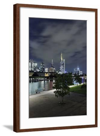 Holbeinsteg, Footbridge, Skyline Banking District, Frankfurt on the Main, Hessen, Germany-Axel Schmies-Framed Photographic Print