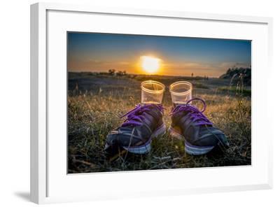 The Netherlands, Frisia, Terschelling, Dunes, Sundowner-Ingo Boelter-Framed Photographic Print