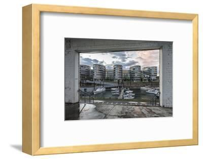 Duisburg, North Rhine-Westphalia, Germany, Five Boats Office Building in the Duisburg Inner Harbour-Bernd Wittelsbach-Framed Photographic Print