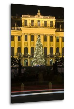 Austria, Vienna, Palace Schšnbrunn, Christmas Market, Christmas-Tree, Evening-Mood, Light-Tracks-Rainer Mirau-Metal Print