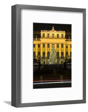 Austria, Vienna, Palace Schšnbrunn, Christmas Market, Christmas-Tree, Evening-Mood, Light-Tracks-Rainer Mirau-Framed Photographic Print