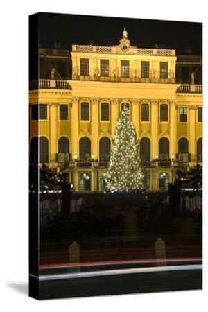 Austria, Vienna, Palace Schšnbrunn, Christmas Market, Christmas-Tree, Evening-Mood, Light-Tracks-Rainer Mirau-Stretched Canvas Print