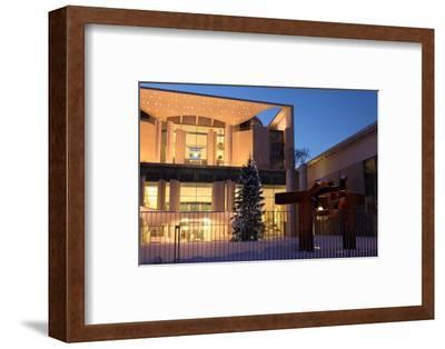 Germany, Berlin, Snow, German Chancellery, Night Photography-Catharina Lux-Framed Photographic Print