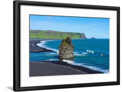 Iceland, Dyrholaey, in the Background the Pointed Rock Needles Reynisdrangar-Catharina Lux-Framed Photographic Print