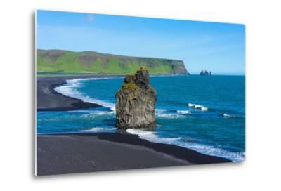 Iceland, Dyrholaey, in the Background the Pointed Rock Needles Reynisdrangar-Catharina Lux-Metal Print