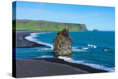 Iceland, Dyrholaey, in the Background the Pointed Rock Needles Reynisdrangar-Catharina Lux-Stretched Canvas Print