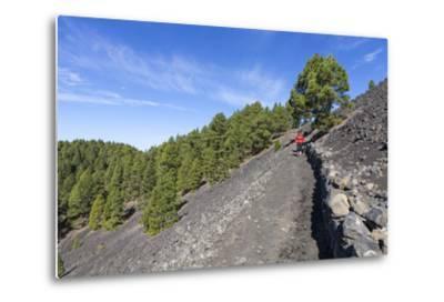 Woman Hiking in the Volcano Landscape of the Nature Reserve Cumbre Vieja, La Palma, Spain-Gerhard Wild-Metal Print