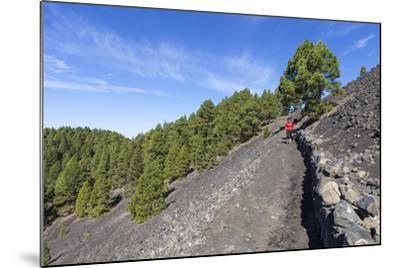 Woman Hiking in the Volcano Landscape of the Nature Reserve Cumbre Vieja, La Palma, Spain-Gerhard Wild-Mounted Photographic Print
