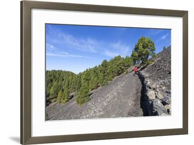 Woman Hiking in the Volcano Landscape of the Nature Reserve Cumbre Vieja, La Palma, Spain-Gerhard Wild-Framed Photographic Print