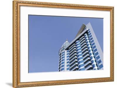Facades, Modern Office Buildings, Architecture, Emirate of Sharjah, United Arab Emirates-Axel Schmies-Framed Photographic Print