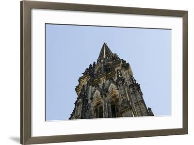 Steeple of the Nikolaikirche, St Nikolai, Hamburg-Mitte, Hanseatic City of Hamburg, Germany-Axel Schmies-Framed Photographic Print