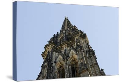 Steeple of the Nikolaikirche, St Nikolai, Hamburg-Mitte, Hanseatic City of Hamburg, Germany-Axel Schmies-Stretched Canvas Print