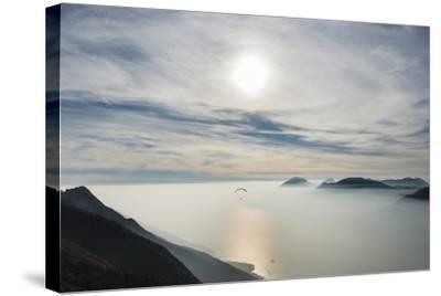Paraglider, Aviation, Paragliding, Lake Garda, Monte Baldo-Frank Fleischmann-Stretched Canvas Print