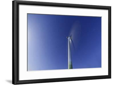 Wind Turbine with Full Moon, Night, Island Fehmarn, Schleswig Holstein, Germany-Axel Schmies-Framed Photographic Print