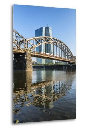 Frankfurt Am Main, Hesse, Germany, New Building of the European Central Bank with Sunrise-Bernd Wittelsbach-Metal Print