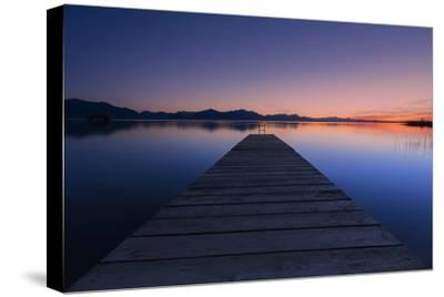 Germany, Bavaria, Lake Chiemsee, Sunset with Stšttham-Dieter Meyrl-Stretched Canvas Print