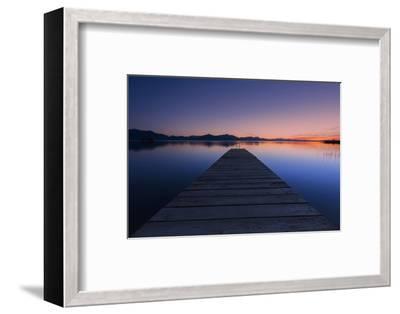 Germany, Bavaria, Lake Chiemsee, Sunset with Stšttham-Dieter Meyrl-Framed Photographic Print