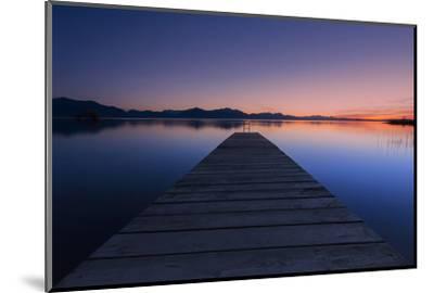 Germany, Bavaria, Lake Chiemsee, Sunset with Stšttham-Dieter Meyrl-Mounted Photographic Print