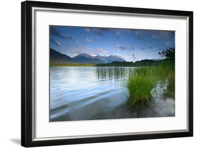 Germany, Bavaria, KrŸn, Evening Mood at Barmsee (Lake), View to Karwendel Mountains-Andreas Vitting-Framed Photographic Print