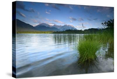 Germany, Bavaria, KrŸn, Evening Mood at Barmsee (Lake), View to Karwendel Mountains-Andreas Vitting-Stretched Canvas Print