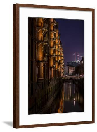 Germany, Hamburg, Speicherstadt (Warehouse District), Elbphilharmonie, Night, Night Shot-Ingo Boelter-Framed Photographic Print