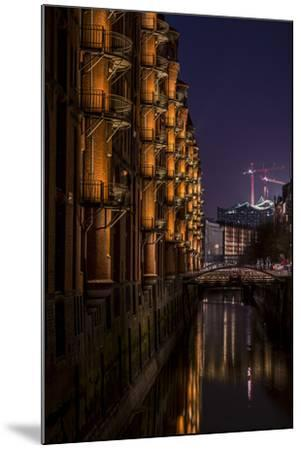 Germany, Hamburg, Speicherstadt (Warehouse District), Elbphilharmonie, Night, Night Shot-Ingo Boelter-Mounted Photographic Print