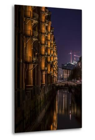 Germany, Hamburg, Speicherstadt (Warehouse District), Elbphilharmonie, Night, Night Shot-Ingo Boelter-Metal Print