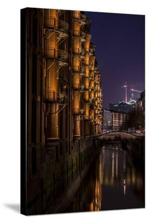 Germany, Hamburg, Speicherstadt (Warehouse District), Elbphilharmonie, Night, Night Shot-Ingo Boelter-Stretched Canvas Print