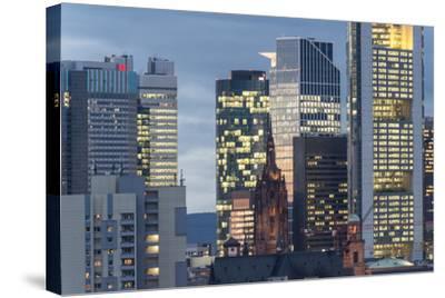 Frankfurt Financial District at Dusk-Bernd Wittelsbach-Stretched Canvas Print