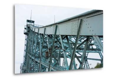 """Dresden, Elbe Cycle Track, Bridge, """"Blue Wonder-Catharina Lux-Metal Print"""