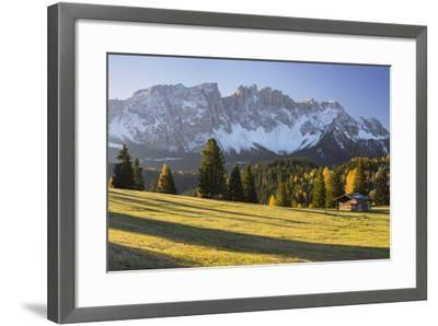 Autumnal Alp in Front of the Mountain Latemar, K?lbleggiesen, South Tyrol-Rainer Mirau-Framed Photographic Print