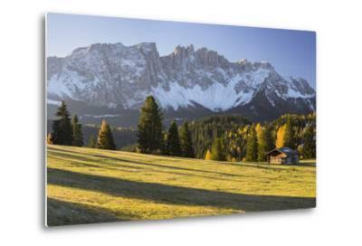 Autumnal Alp in Front of the Mountain Latemar, K?lbleggiesen, South Tyrol-Rainer Mirau-Metal Print