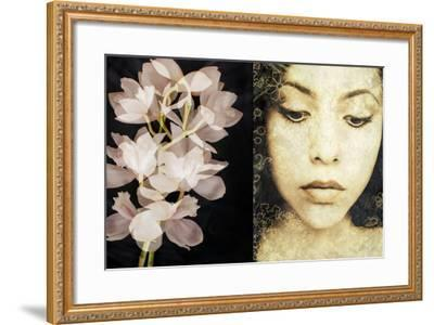 Tryptich of a Portrait of a Woman with Textures and Floral Ornaments with an Orchid-Alaya Gadeh-Framed Photographic Print