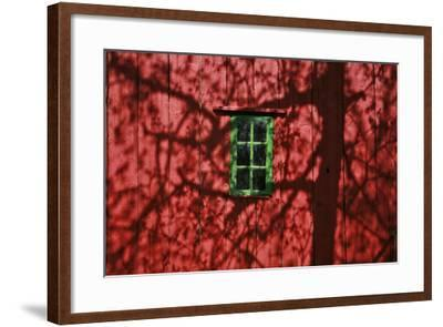 Barn, Red, Green Window, Shadow of a Tree-Uwe Steffens-Framed Photographic Print